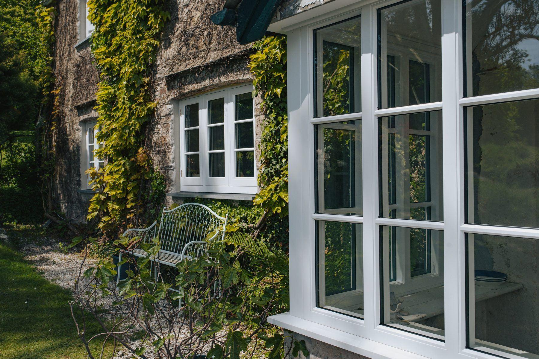 flush casement timber window angled shot