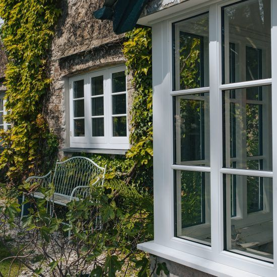 flush casement timber window angled shot