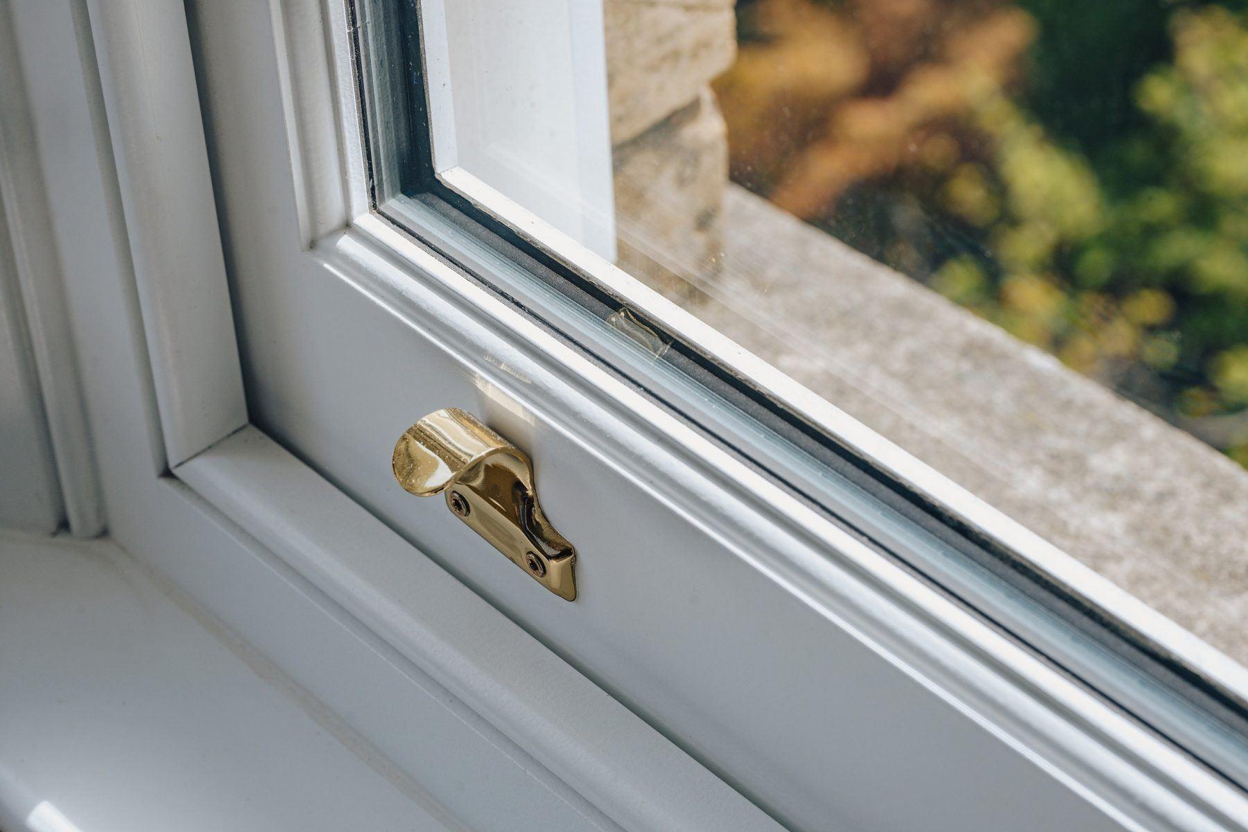close up view timber sliding sash windows