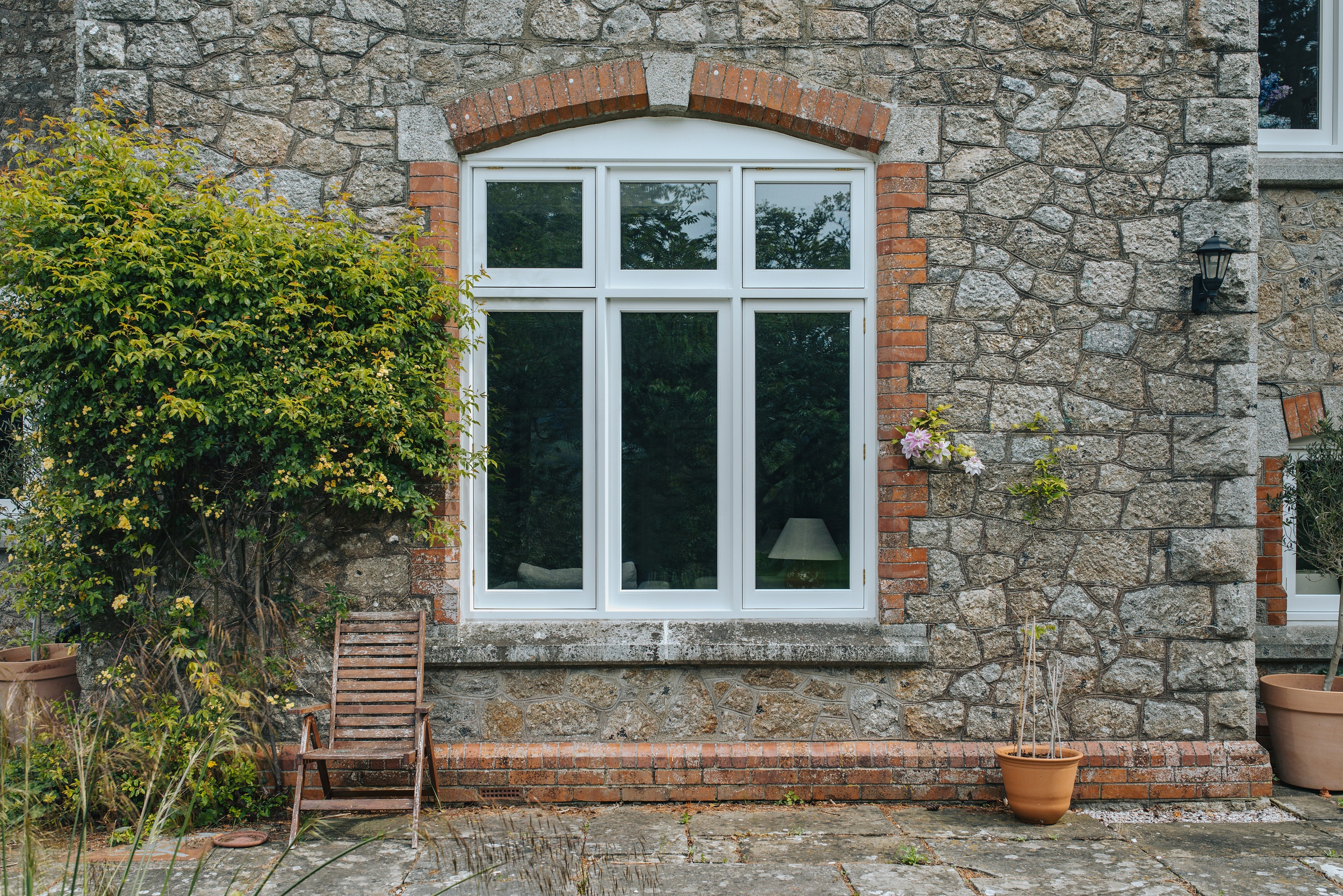 large timber flush casement window