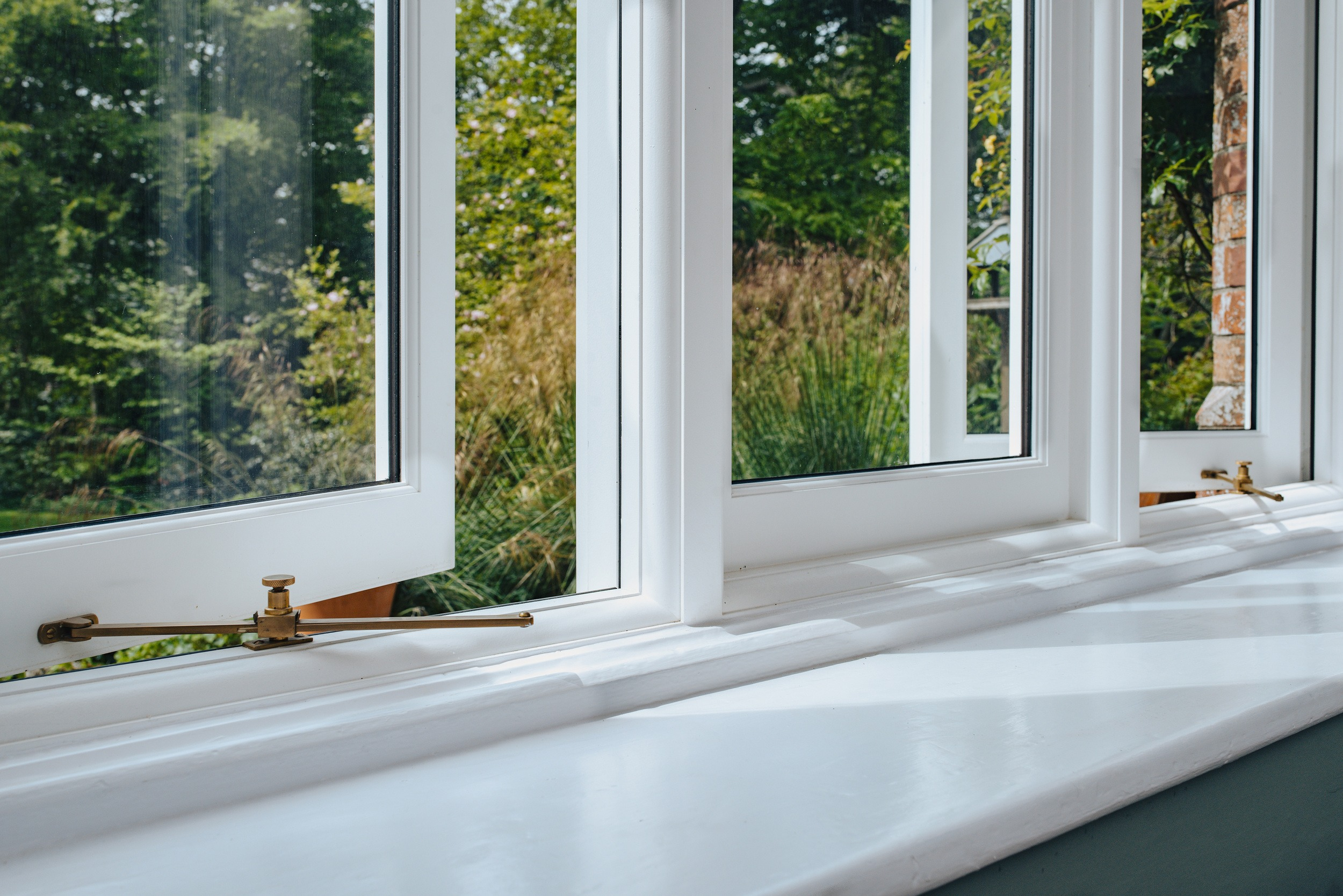 internal detailed view of a flush casement timber window