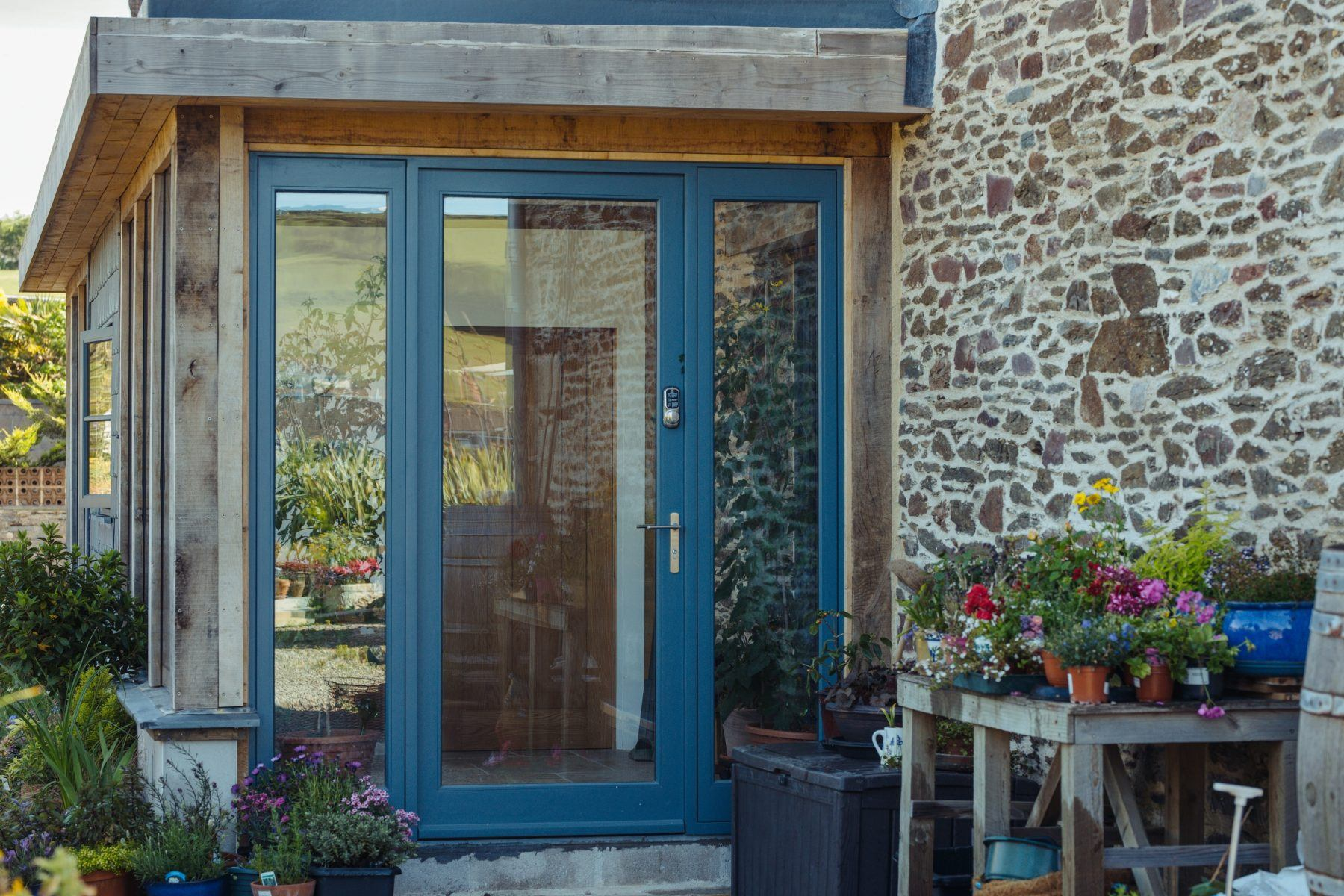 blue traditional timber front door