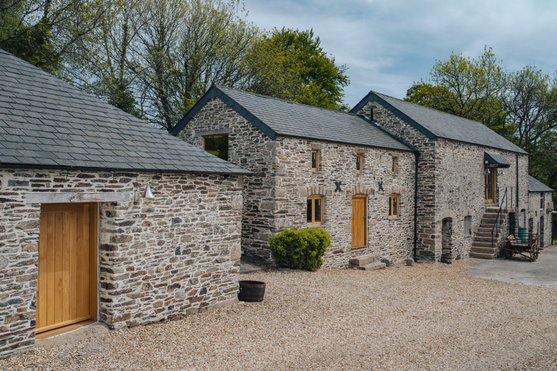 timber windows on barn and cottage property - full angled view