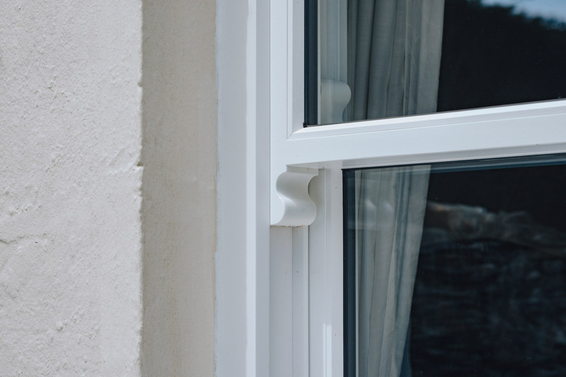 white sliding sash window detailed view
