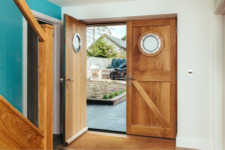 custom timber front door internal view
