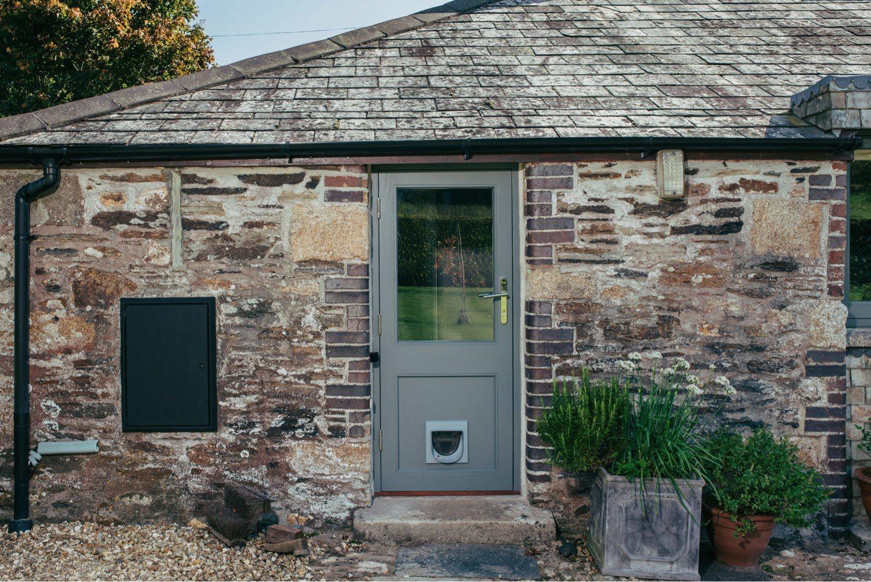 timber door with cat flap