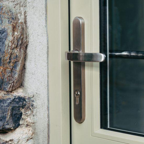 timber door security handle close up